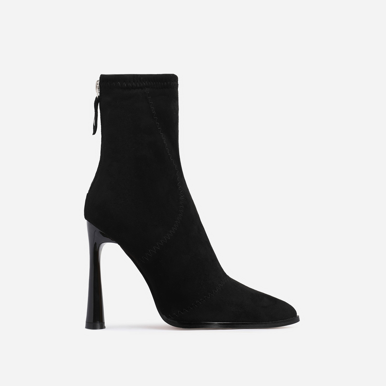 Nolan Curved Heel Ankle Boot In Black Faux Suede