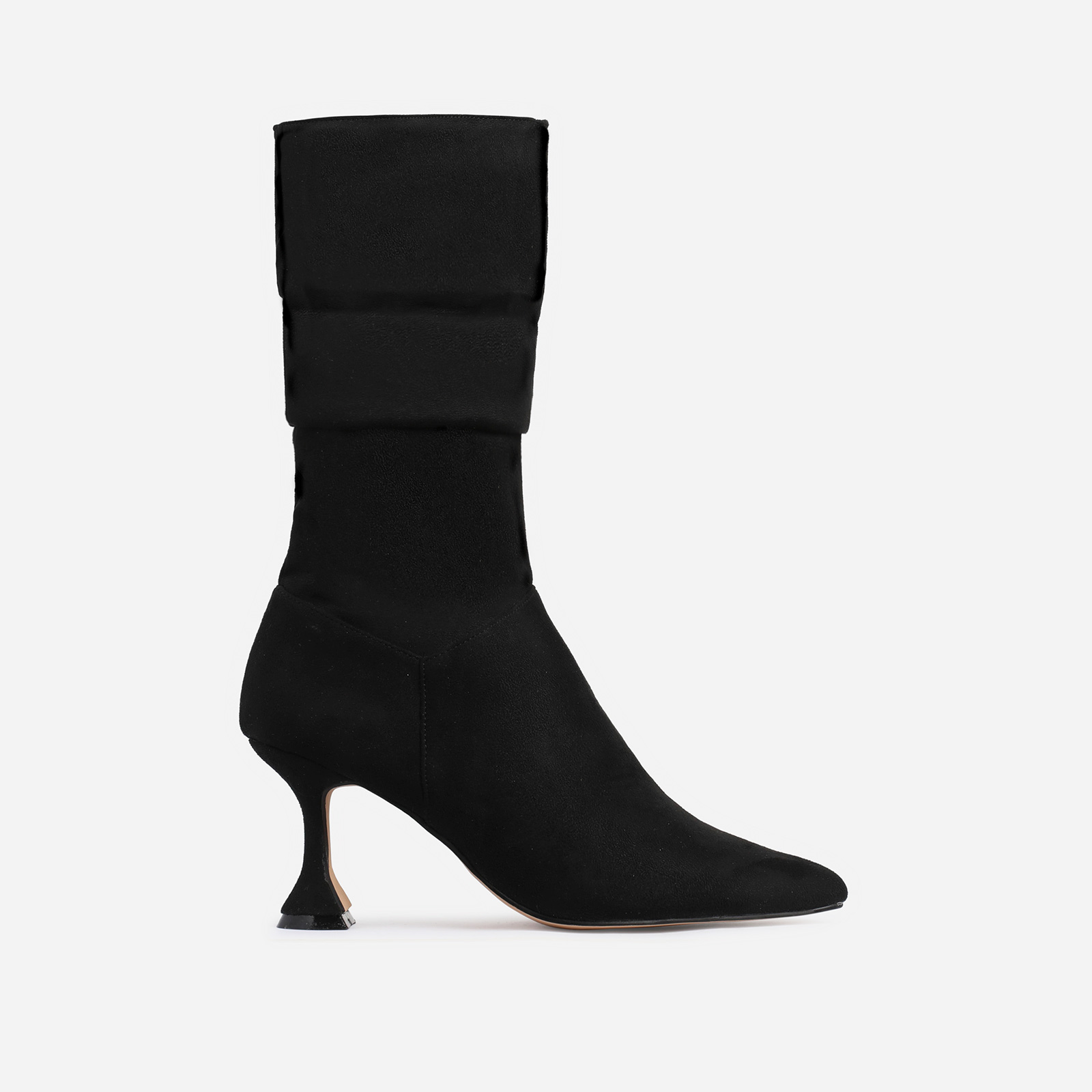 Collab Pyramid Heel Slouched Ankle Boot In Black Faux Suede