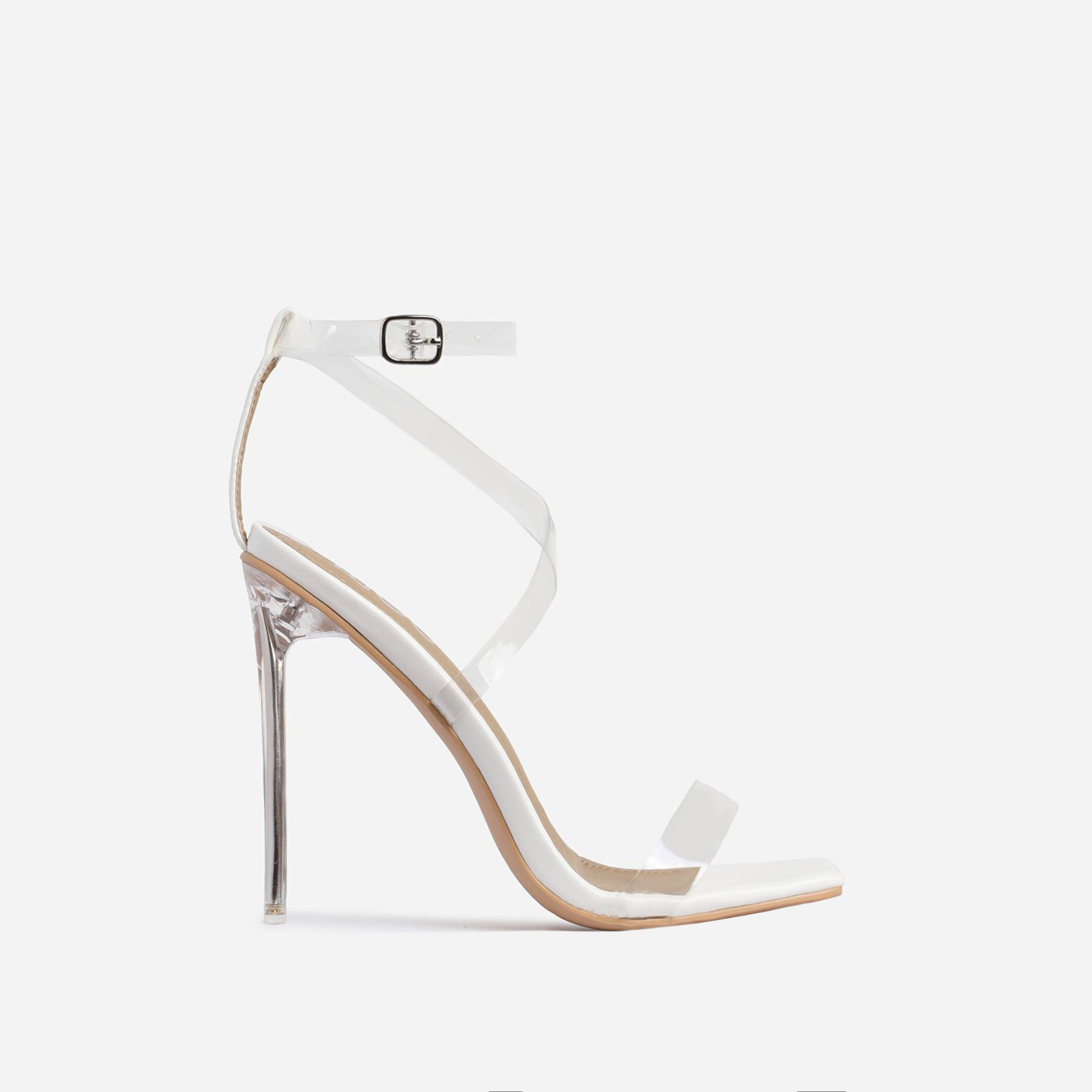 Lance Square Toe Barely There Clear Perspex Heel In White Faux Leather