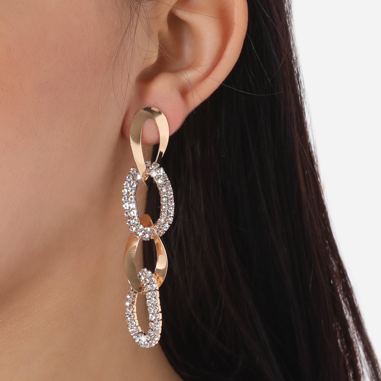 Diamante Detail Chain Link Earrings In Gold
