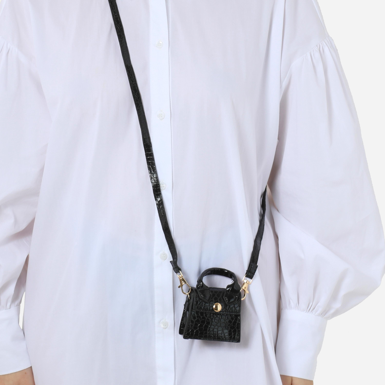 Micro Grab Bag In Black Croc Print Faux Leather