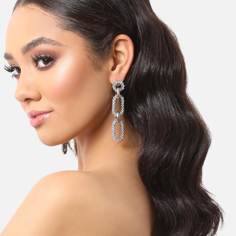 Diamante Chain Link Drop Earrings In Silver
