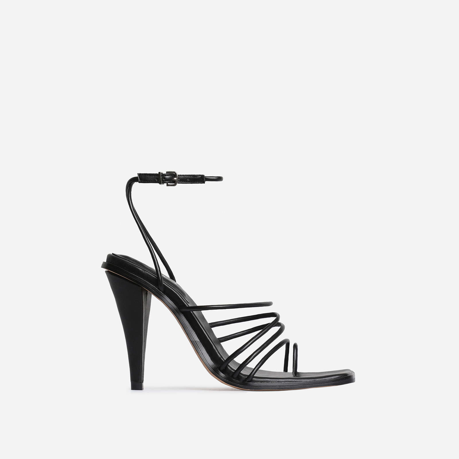Amory Square Toe Strappy Heel In Black Faux Leather
