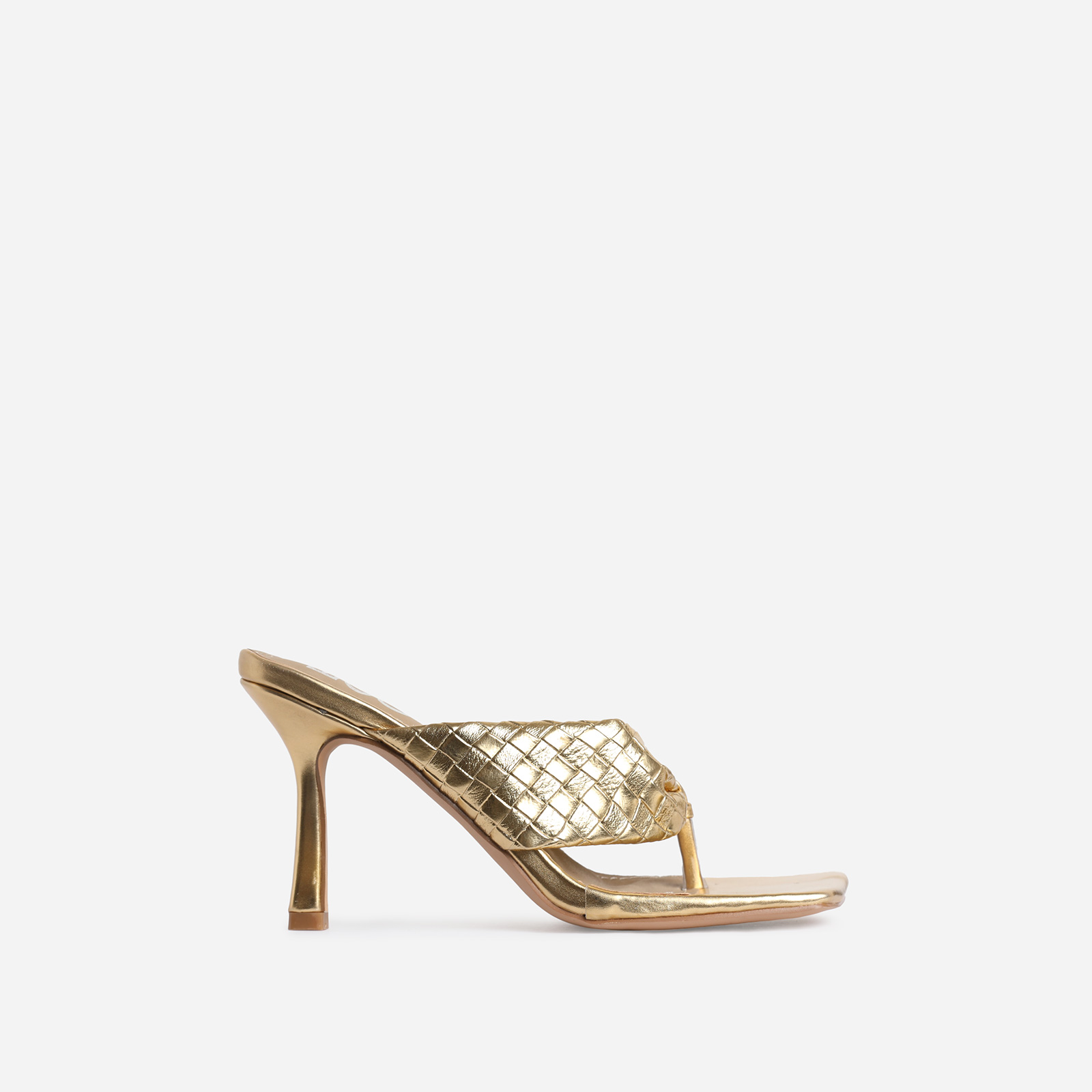 Brave Braided Detail Square Kitten Toe Heel Mule In Metallic Gold Faux Leather