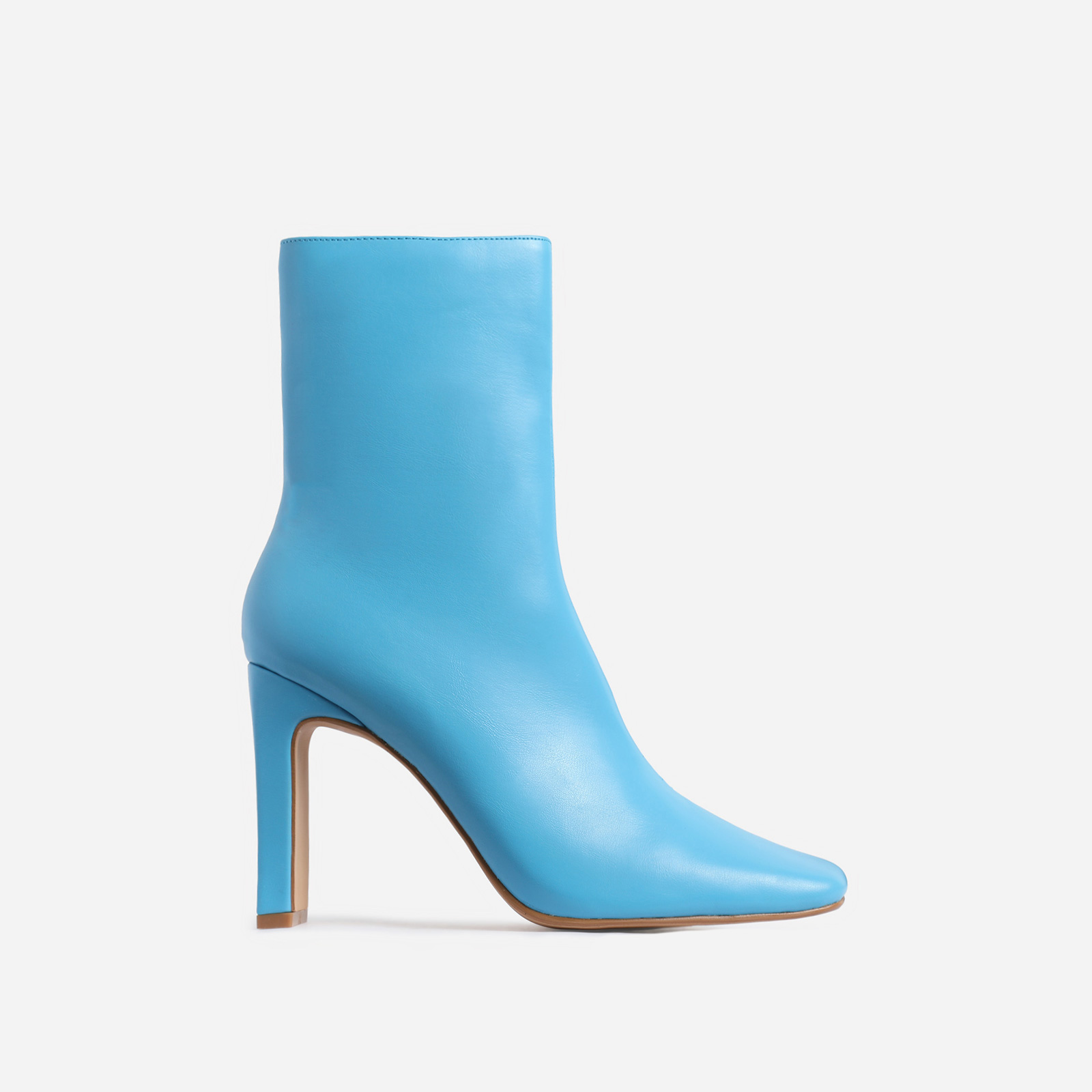 Klass Square Toe Thin Block Heel Ankle Boot In Blue Faux Leather