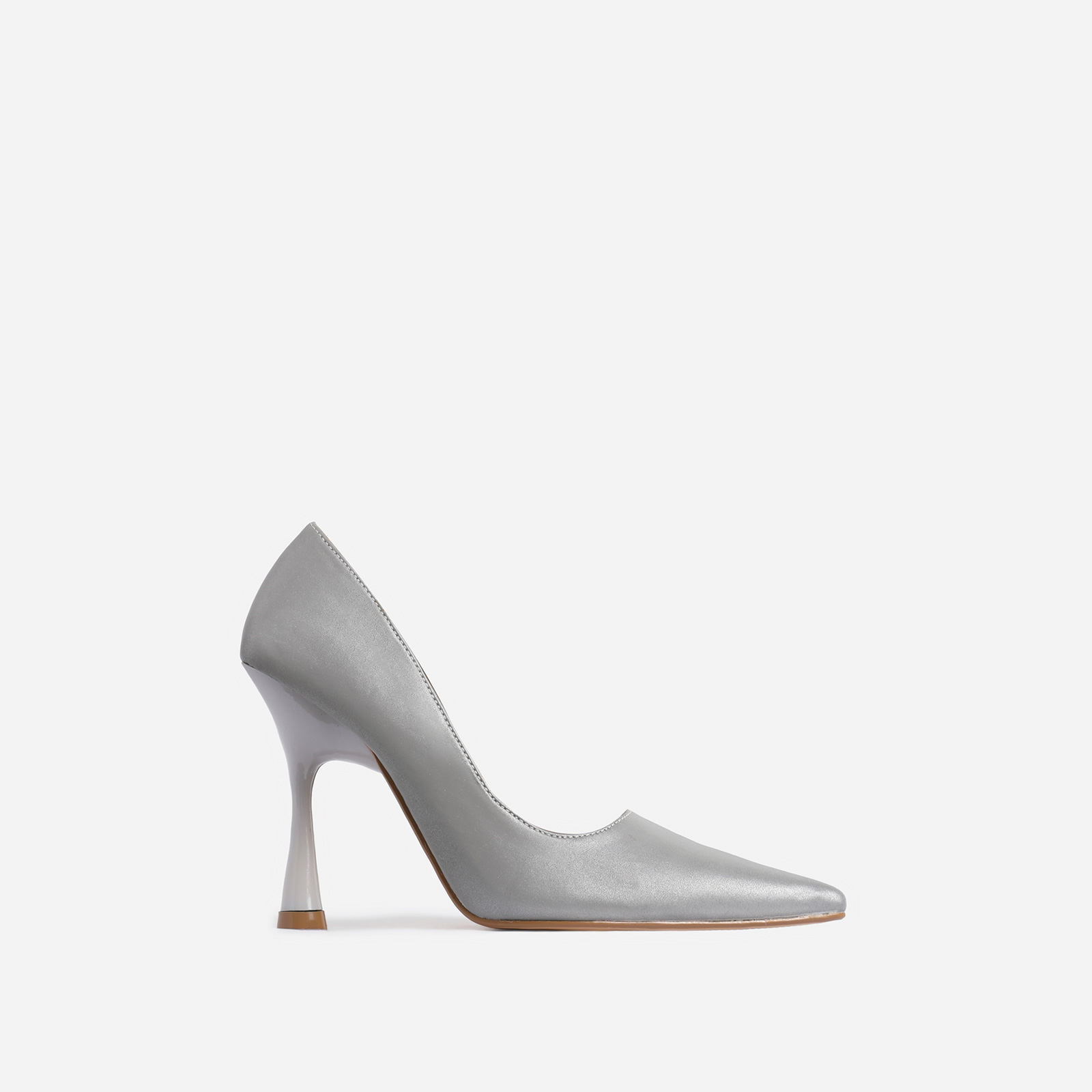 Levi Pointed Toe Court Heel In Silver Reflective Faux Leather