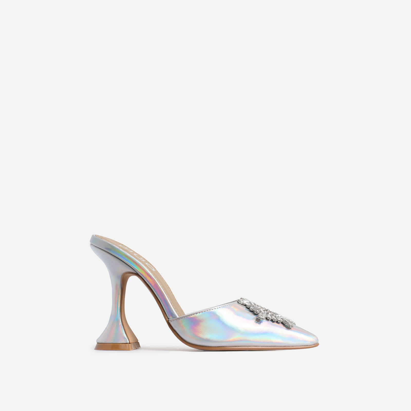 Moonlight Diamante Detail Pyramid Heel Mule In Silver Holographic Faux Leather