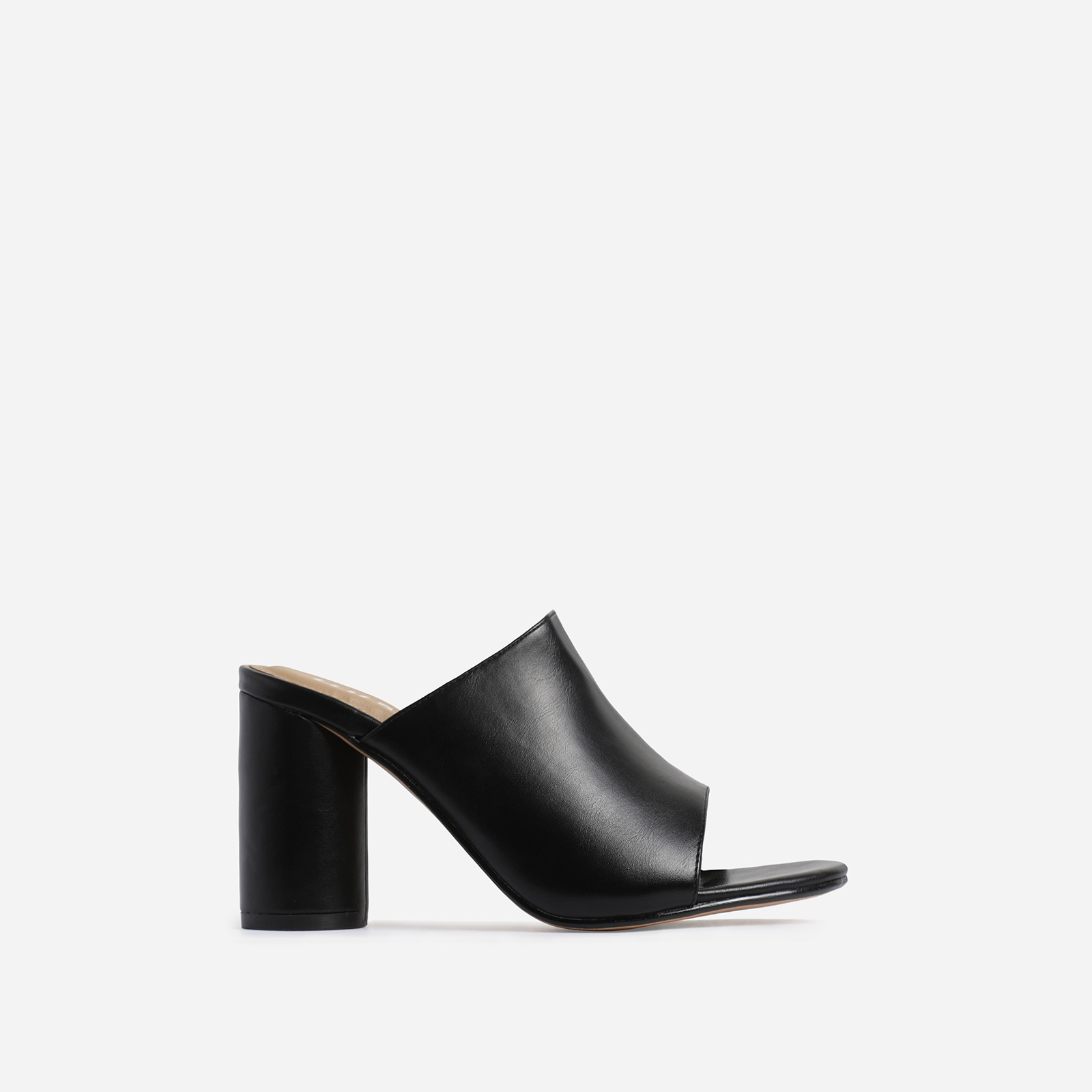 Virgo Peep Toe Block Heel Mule In Black Faux Leather