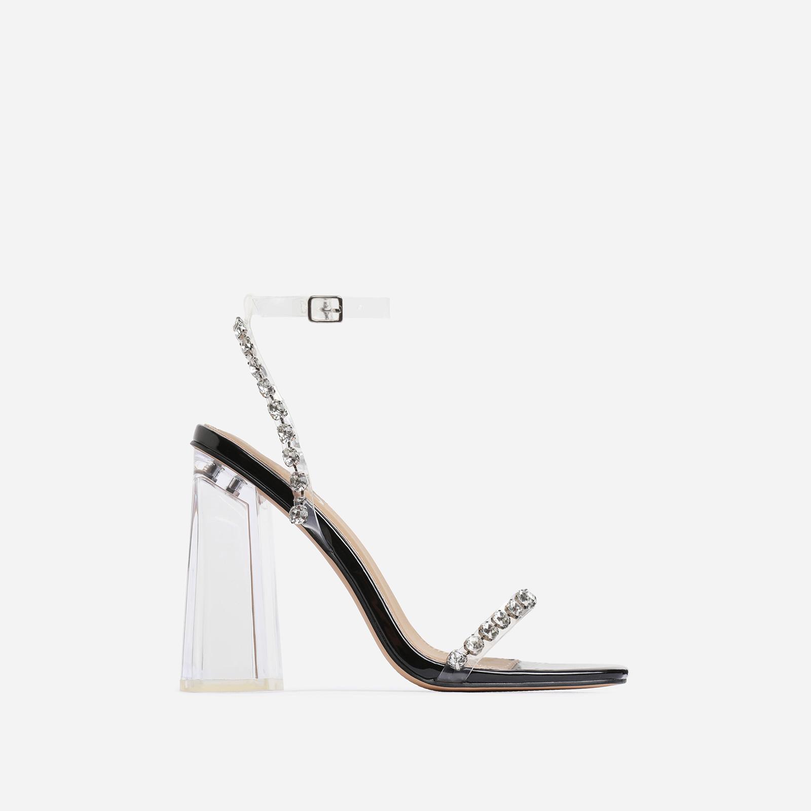 Rally Diamante Detail Flared Perspex Block Heel In Black Patent