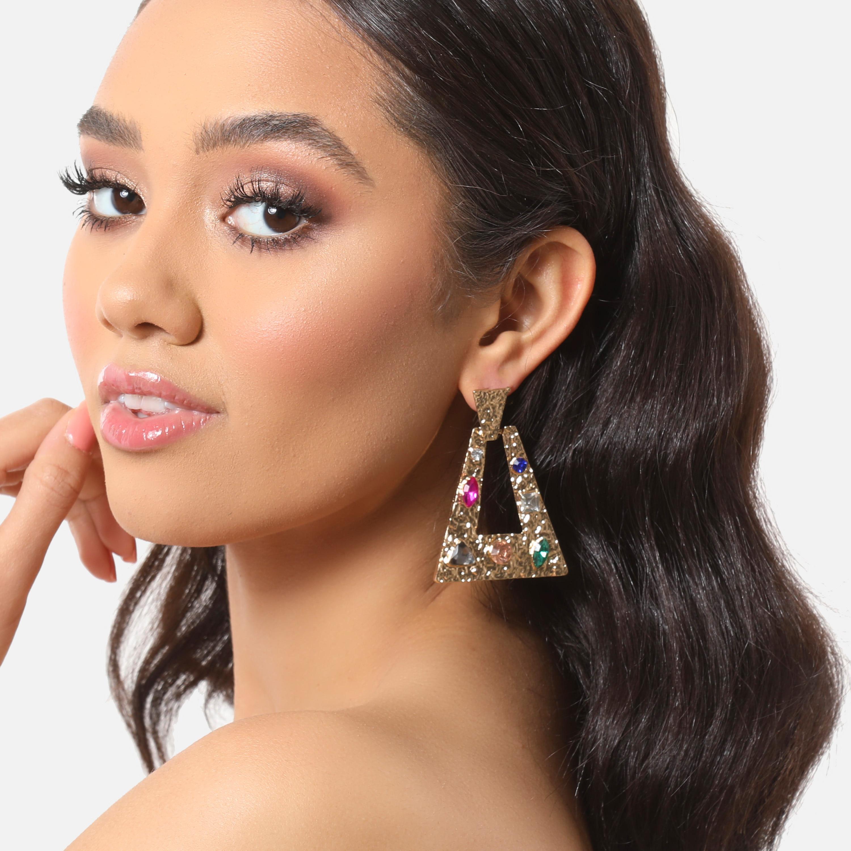 Multi Colour Gemstone Detail Triangle Drop Earrings In Gold