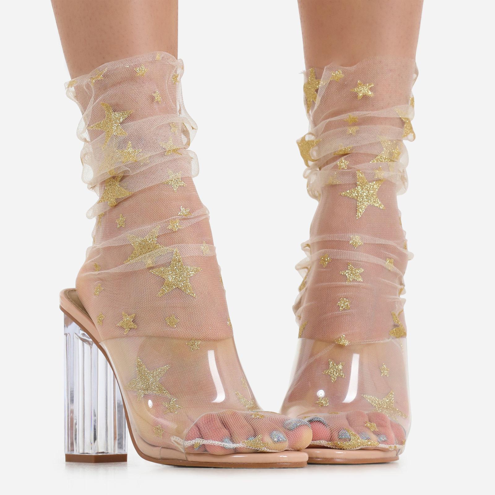 Glitter Star Detail Socks In Nude Mesh