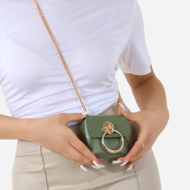 Hoop Detail Mini Bag In Khaki Faux Leather