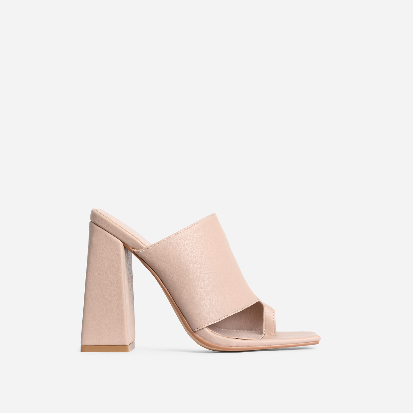 Anfo Square Peep Toe Flared Block Heel Mule In Nude Faux Leather