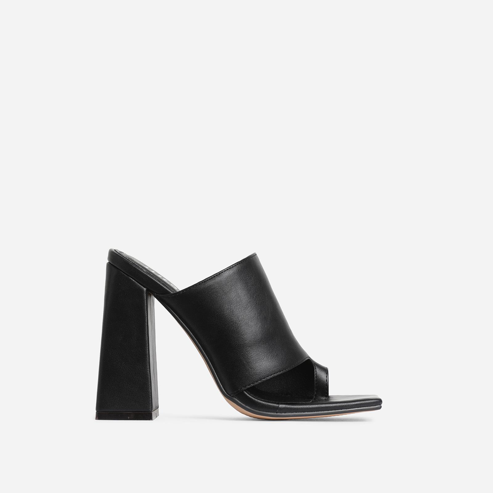 Anfo Square Peep Toe Flared Block Heel Mule In Black Faux Leather
