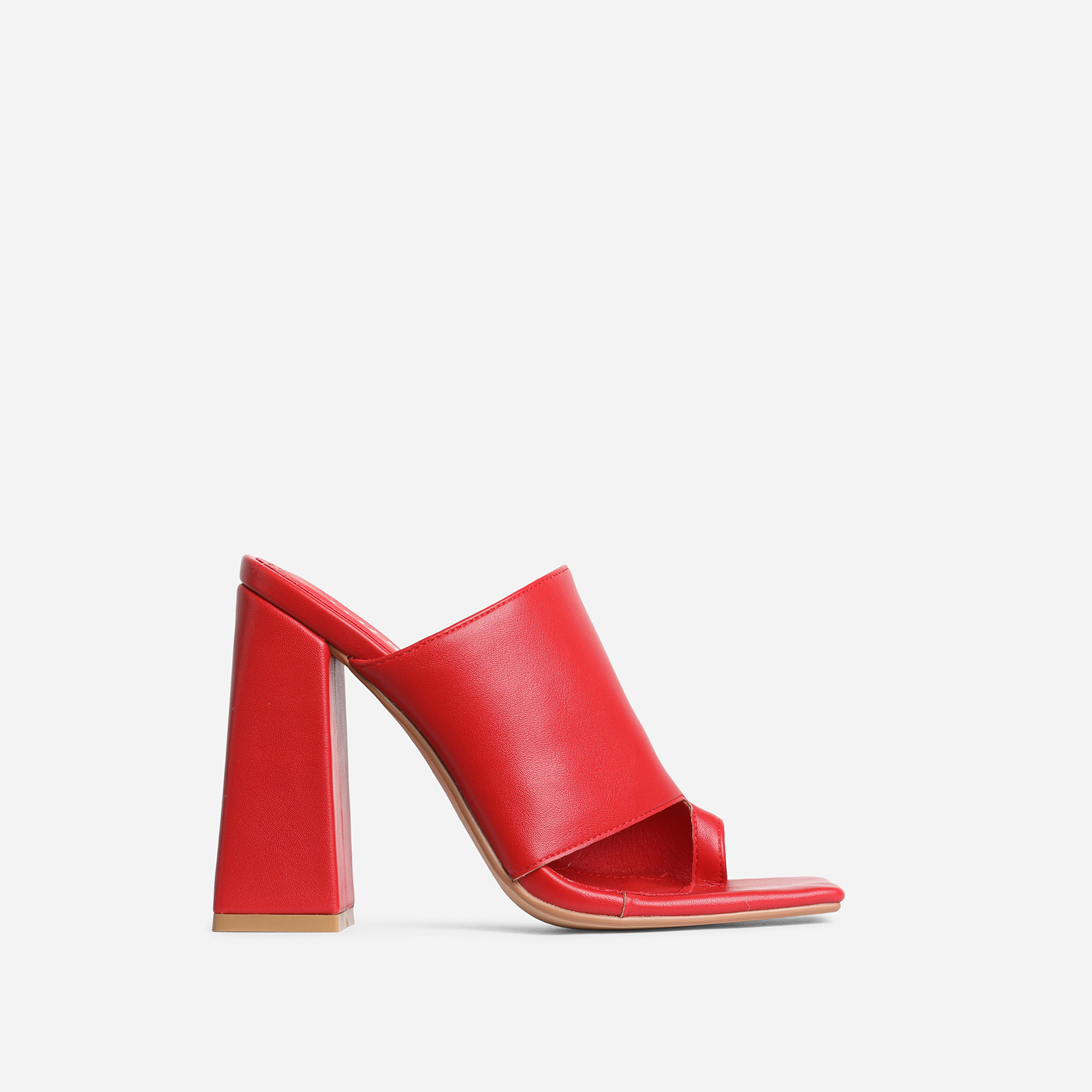 Anfo Square Peep Toe Flared Block Heel Mule In Red Faux Leather