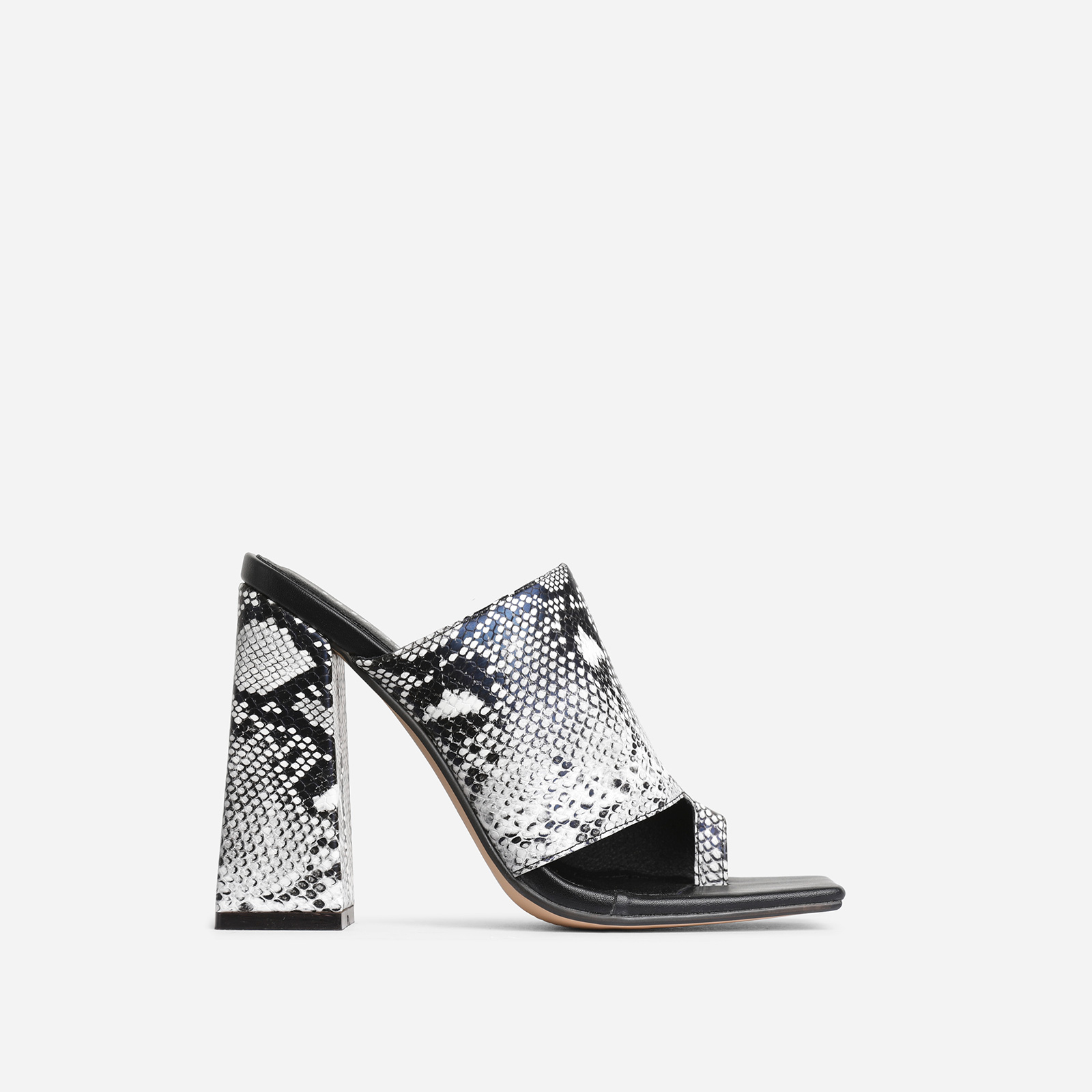 Anfo Square Peep Toe Flared Block Heel Mule In Grey Snake Print Faux Leather