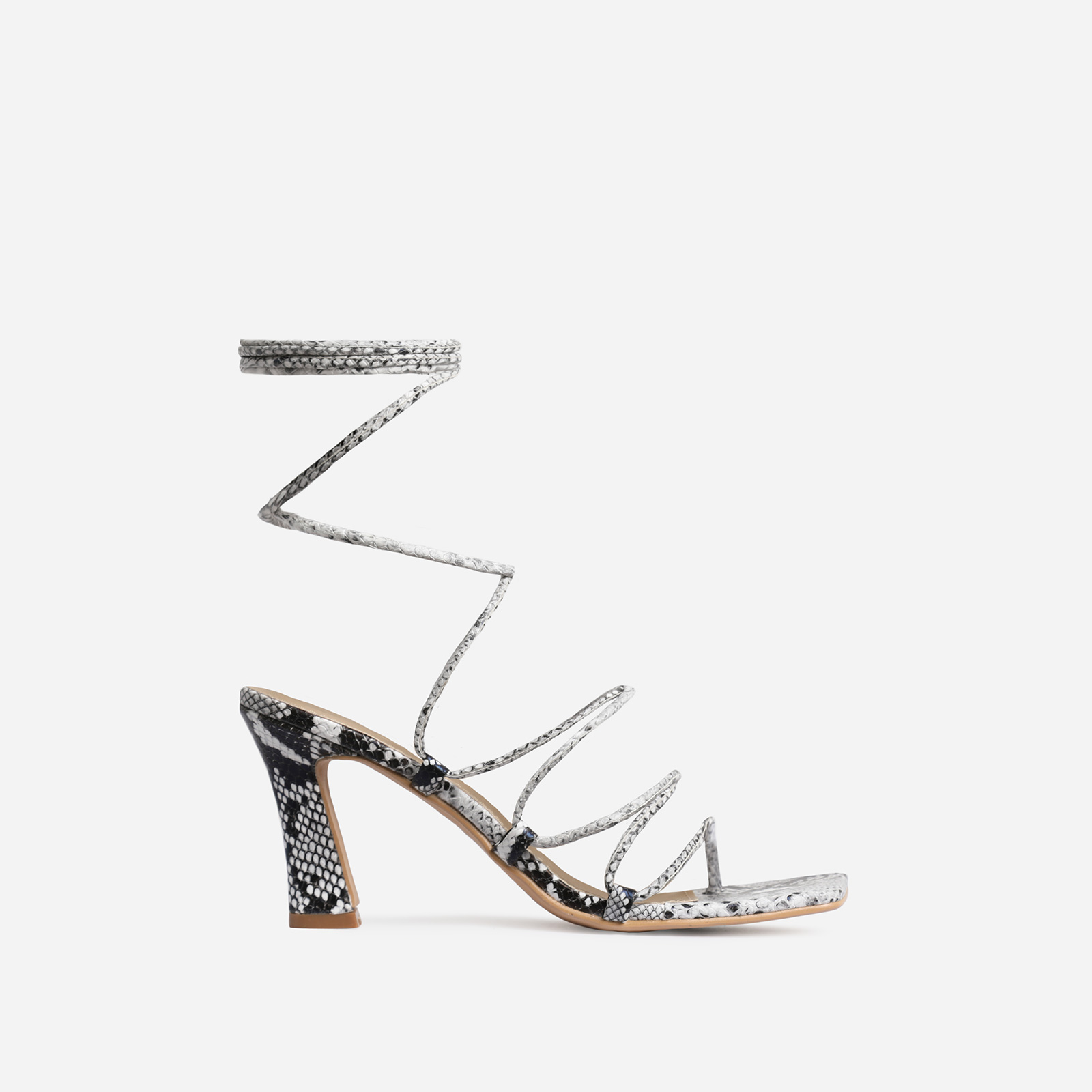 Trixie Square Toe Lace Up Kitten Heel In Grey Snake Print Faux Leather