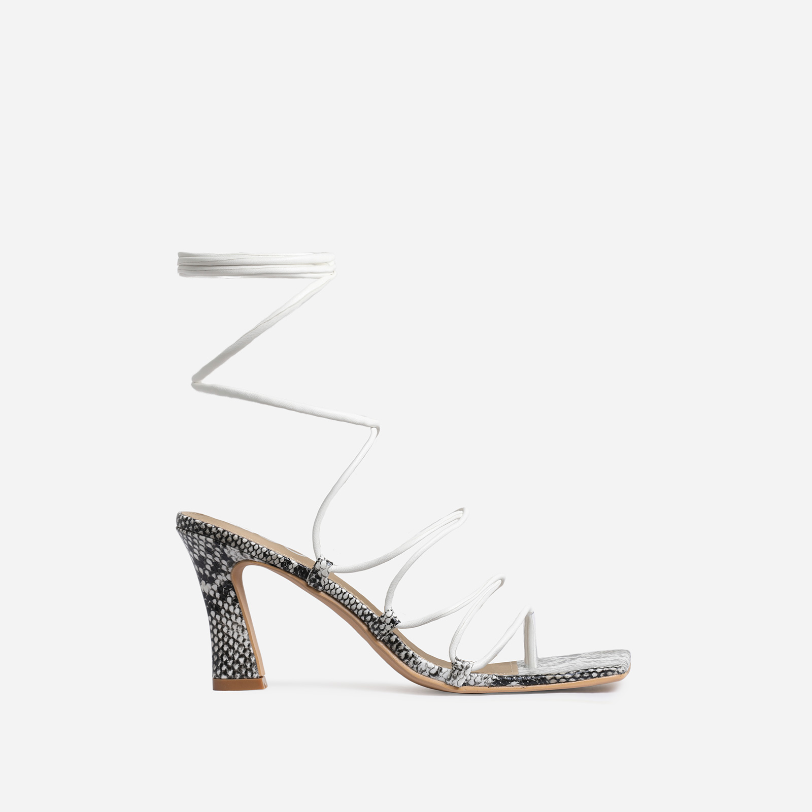 Trixie Square Toe White Lace Up Kitten Heel In Nude Snake Print Faux Leather