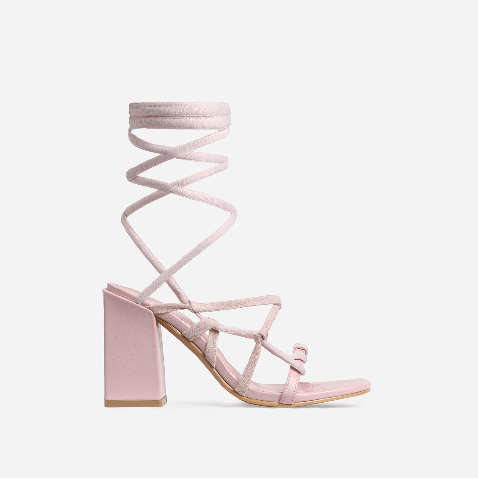 Erzi Square Toe Lace Up Block Heel In Pink Faux Leather