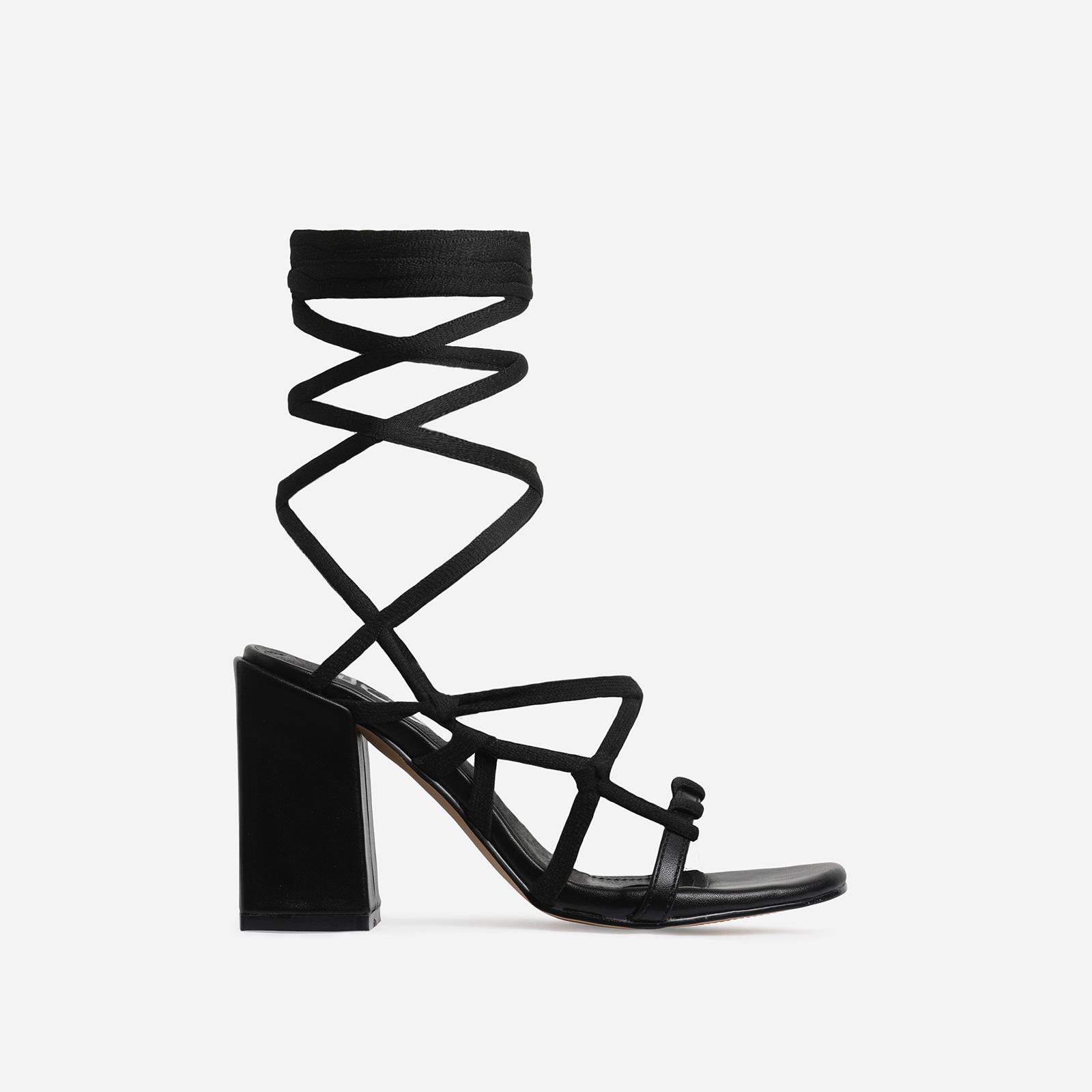 Erzi Square Toe Lace Up Block Heel In Black Faux Leather