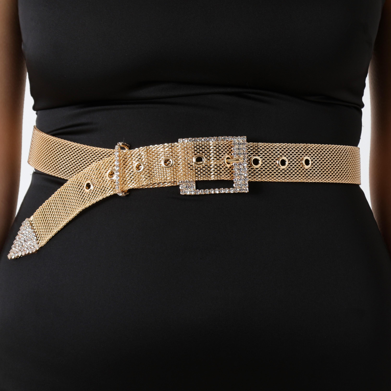 Diamante Buckle Detail Mesh Belt In Gold