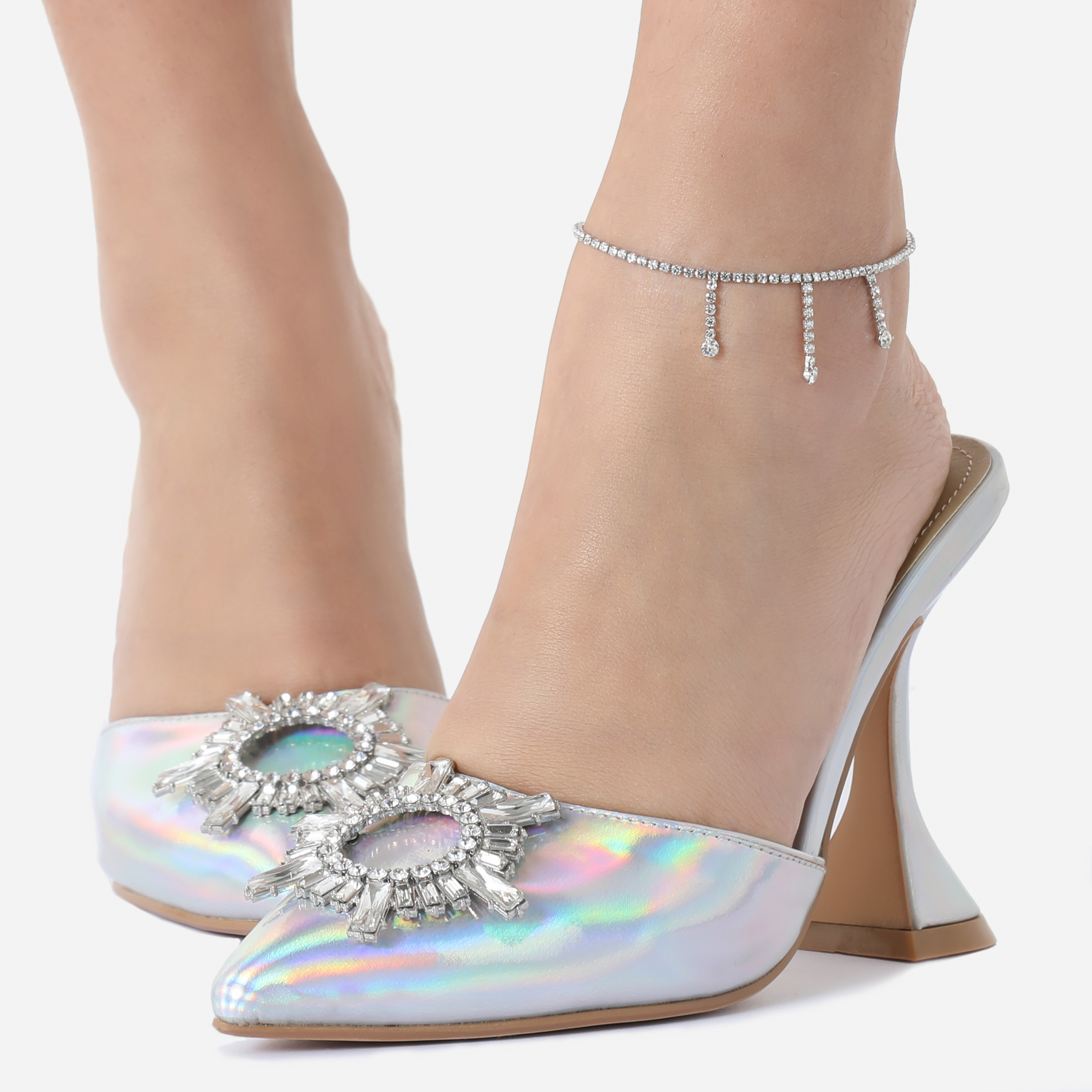 Drop Diamante Detail Anklet In Silver