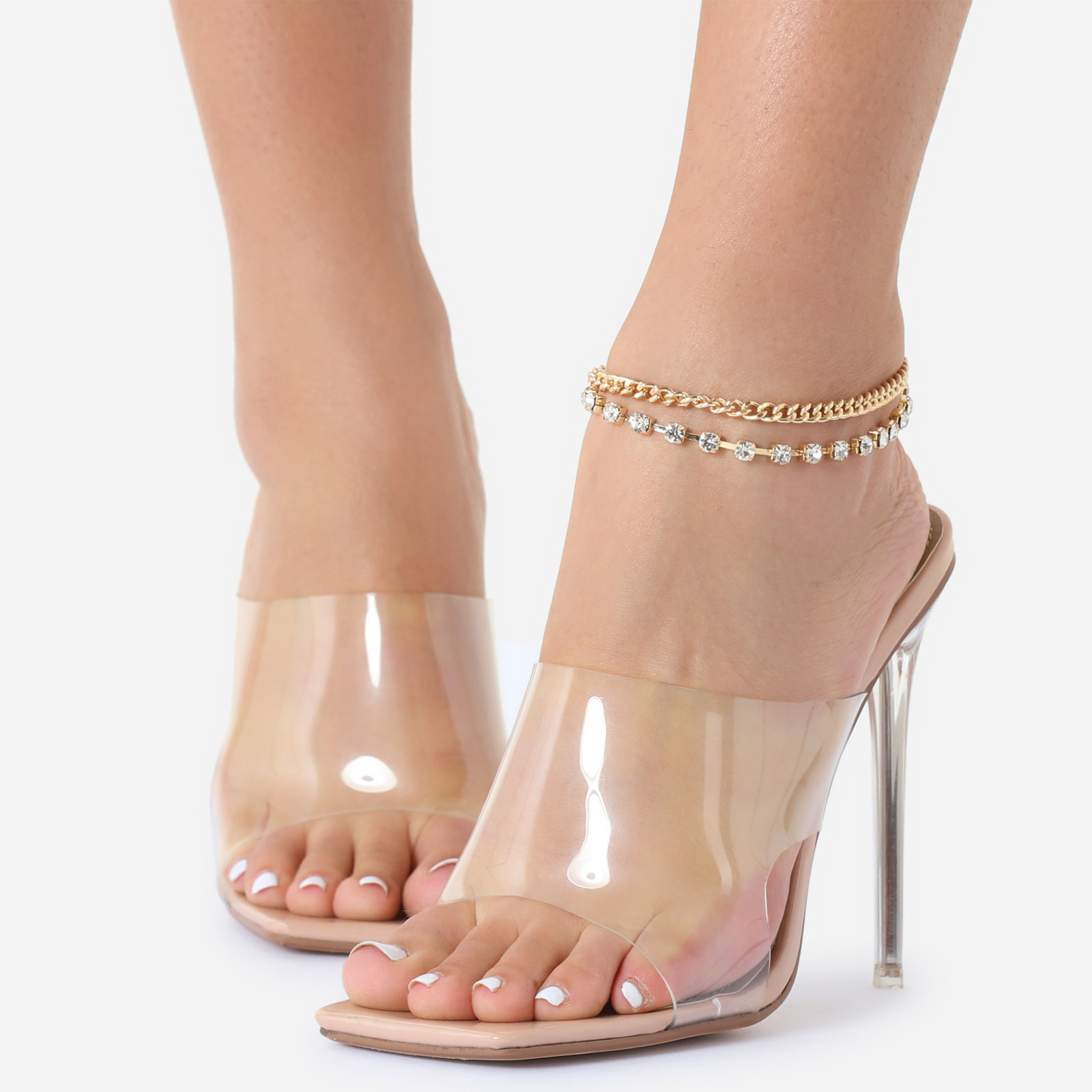 Gem Detail Chunky Chain Anklet In Gold