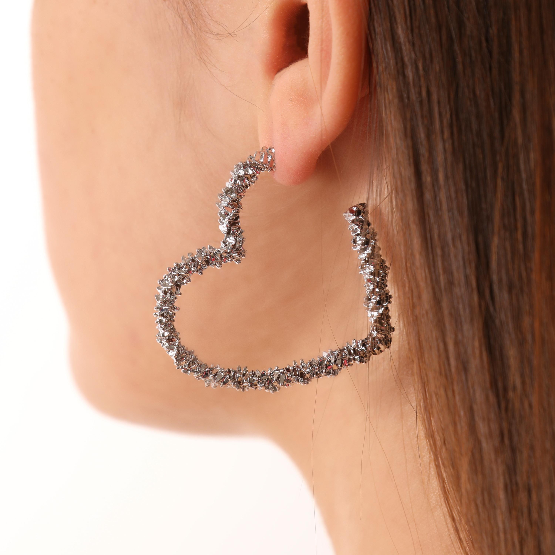 Crystal Heart Hoop Earrings In Silver