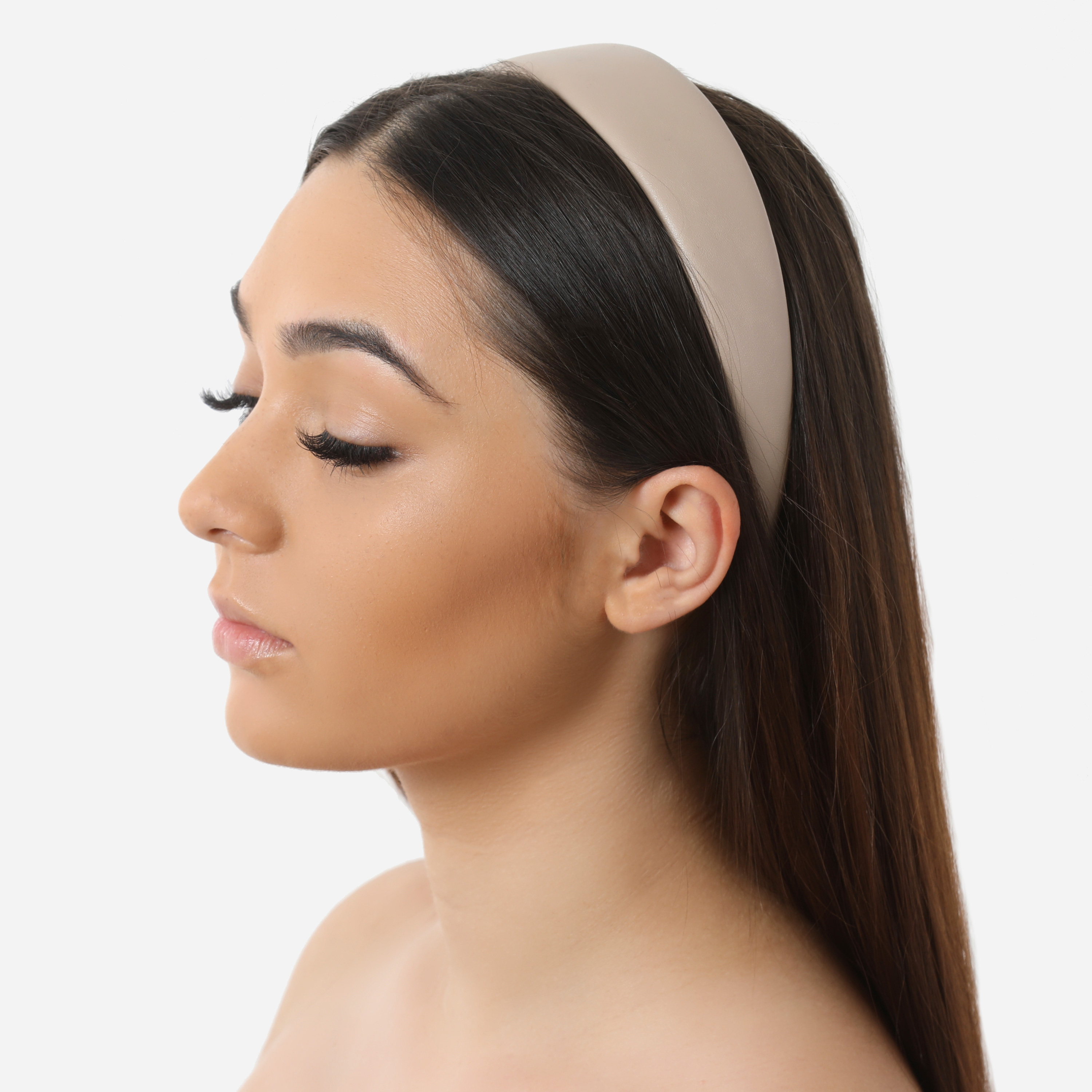 Padded Headband In Nude Faux Leather