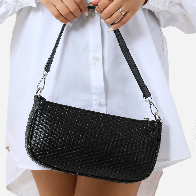 Woven Baguette Shoulder Bag In Black Faux Leather