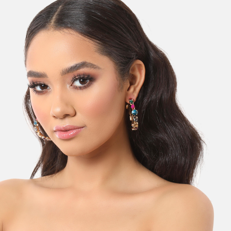 Multi Colour Gem Detail Hoop Earrings In Gold