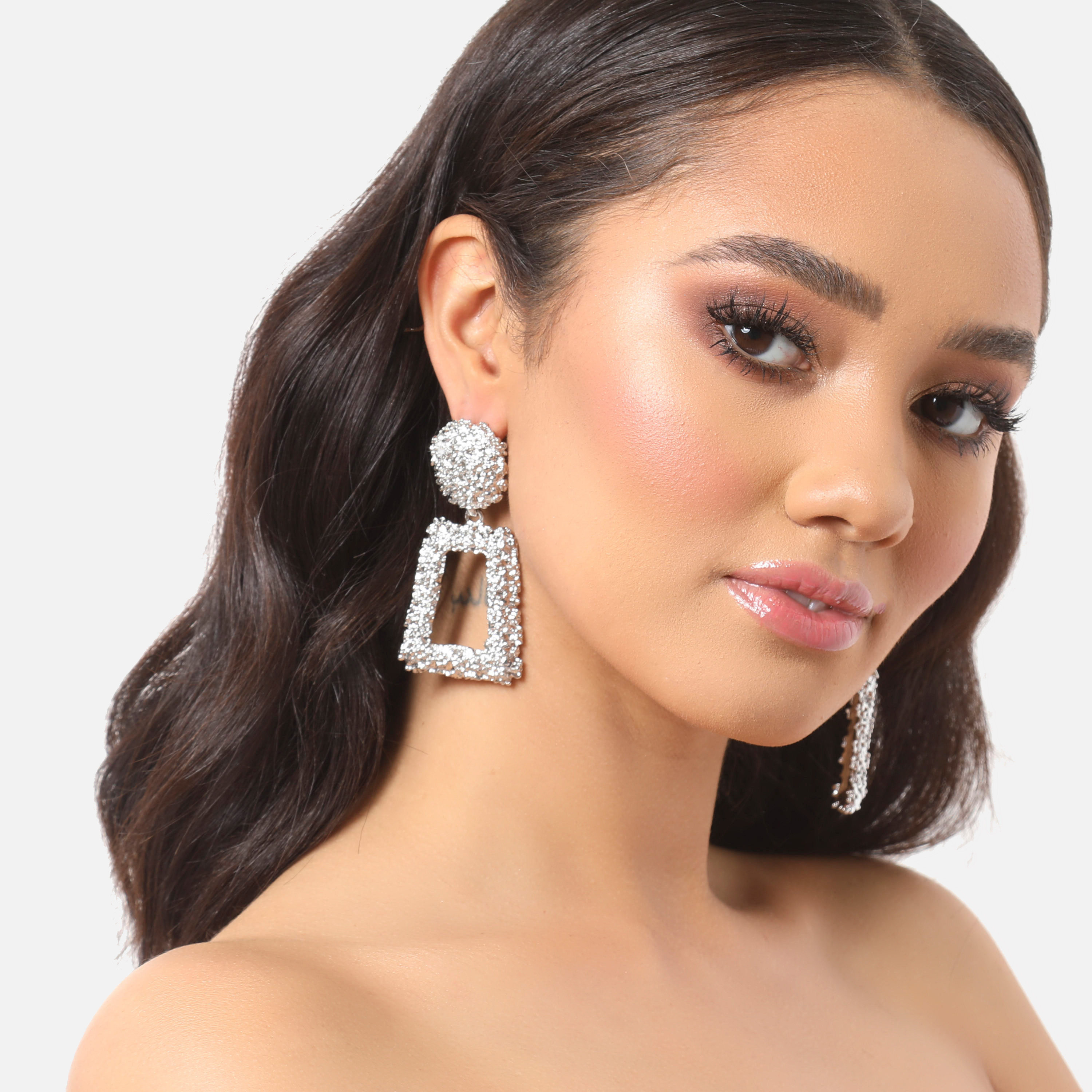 Hammered Effect Square Drop Earrings In Silver