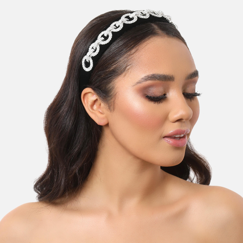 Diamante Circle Detail Headband In Black Velvet