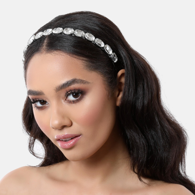 Gemstone Detail Metal Headband In Silver