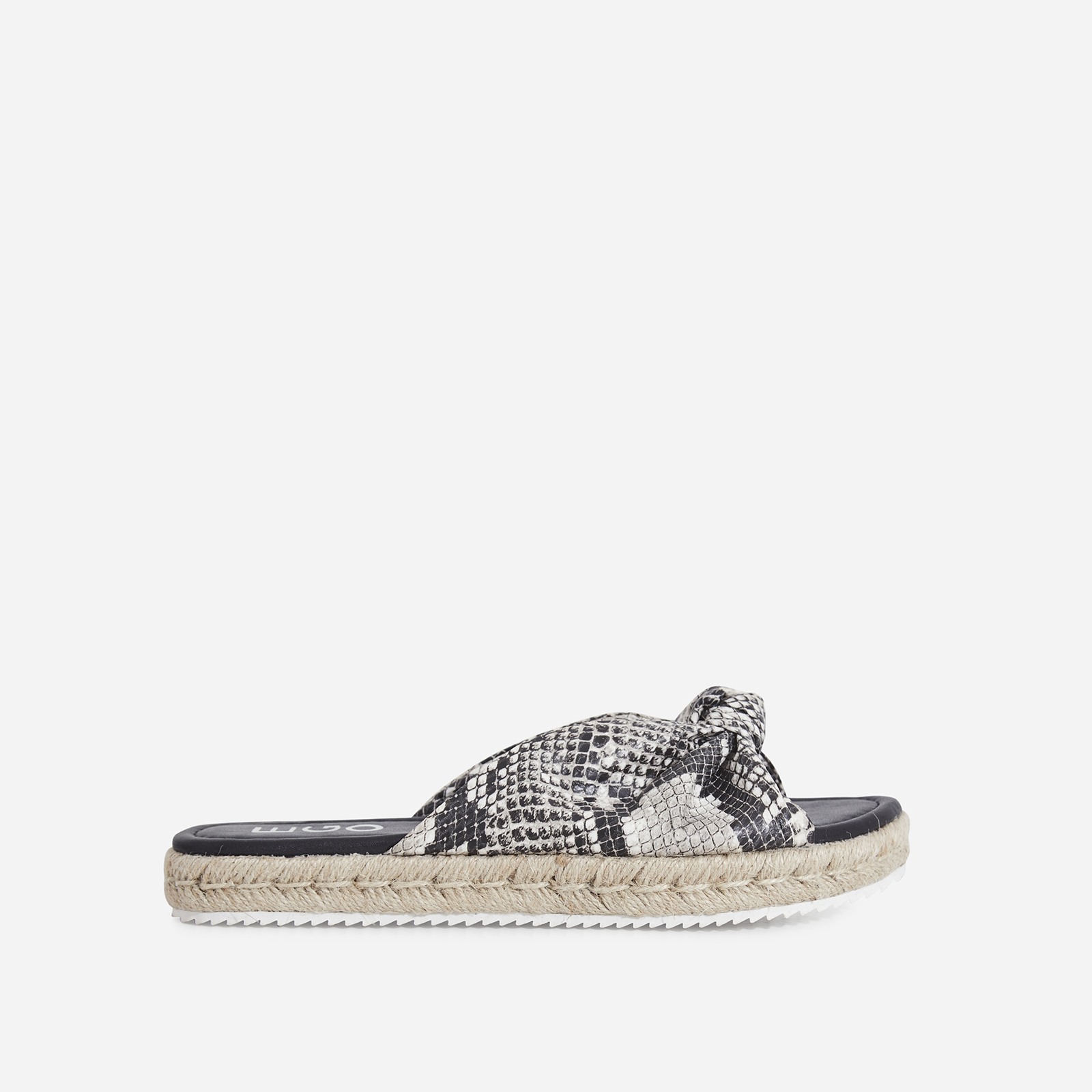 Birdy Bow Detail Espadrille Sandal In Nude Snake Print Faux Leather