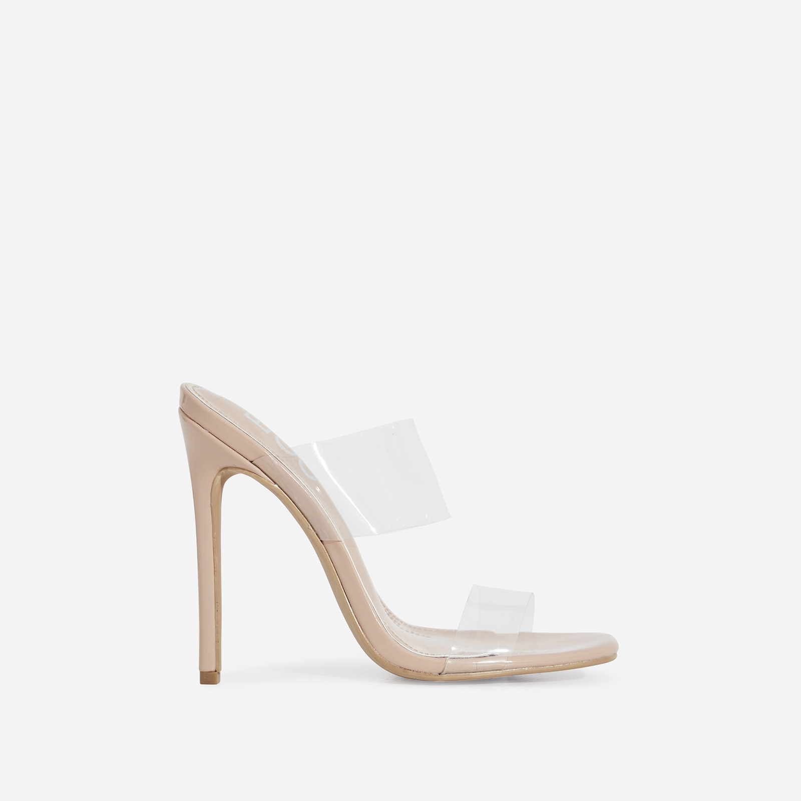d50ac91b4a7 Charlize Perspex Square Toe Heel Mule In Nude Patent