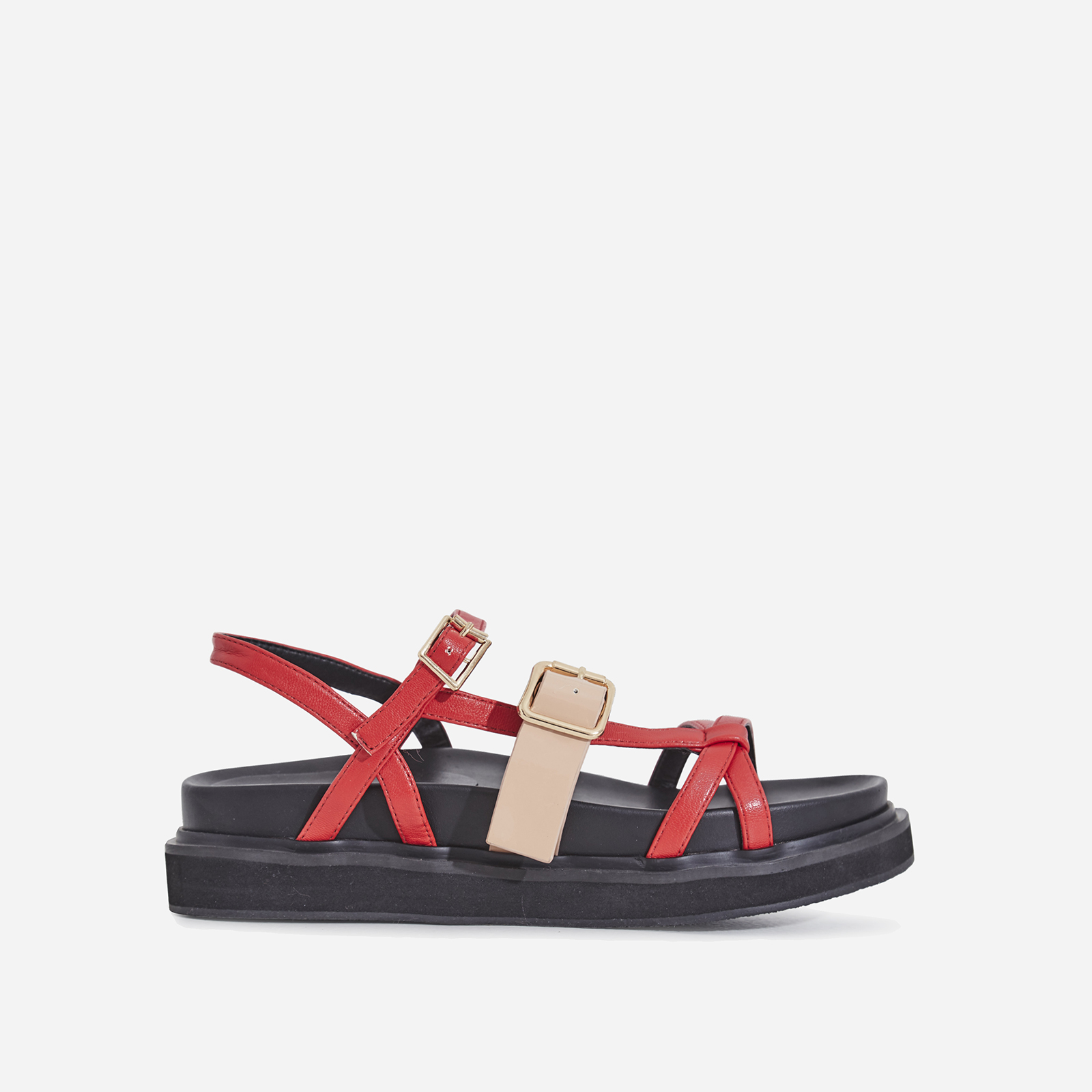 Andro Chunky Sole Sandal In Red