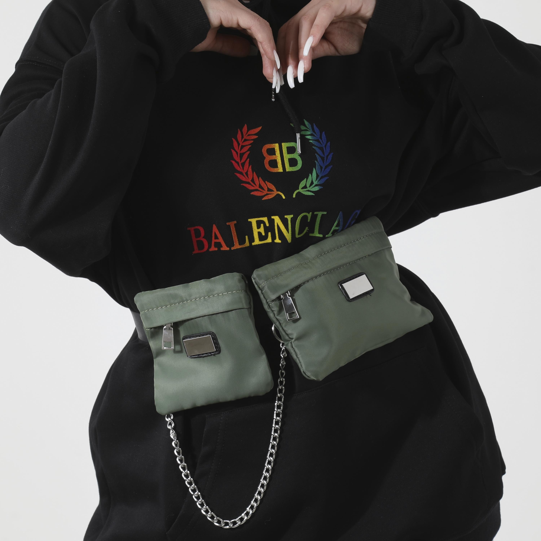 Chain Detail Utility Belt Bag In Khaki