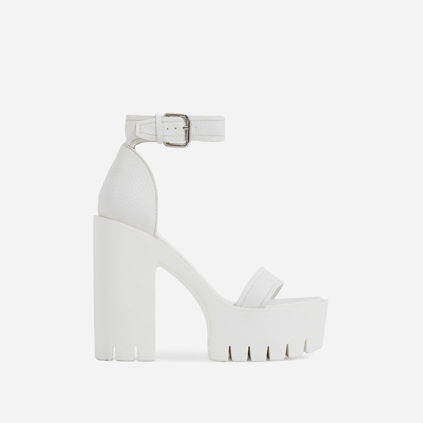Stormi Platform Cleated Sole Block Heel In White Pebble Grain Faux Leather