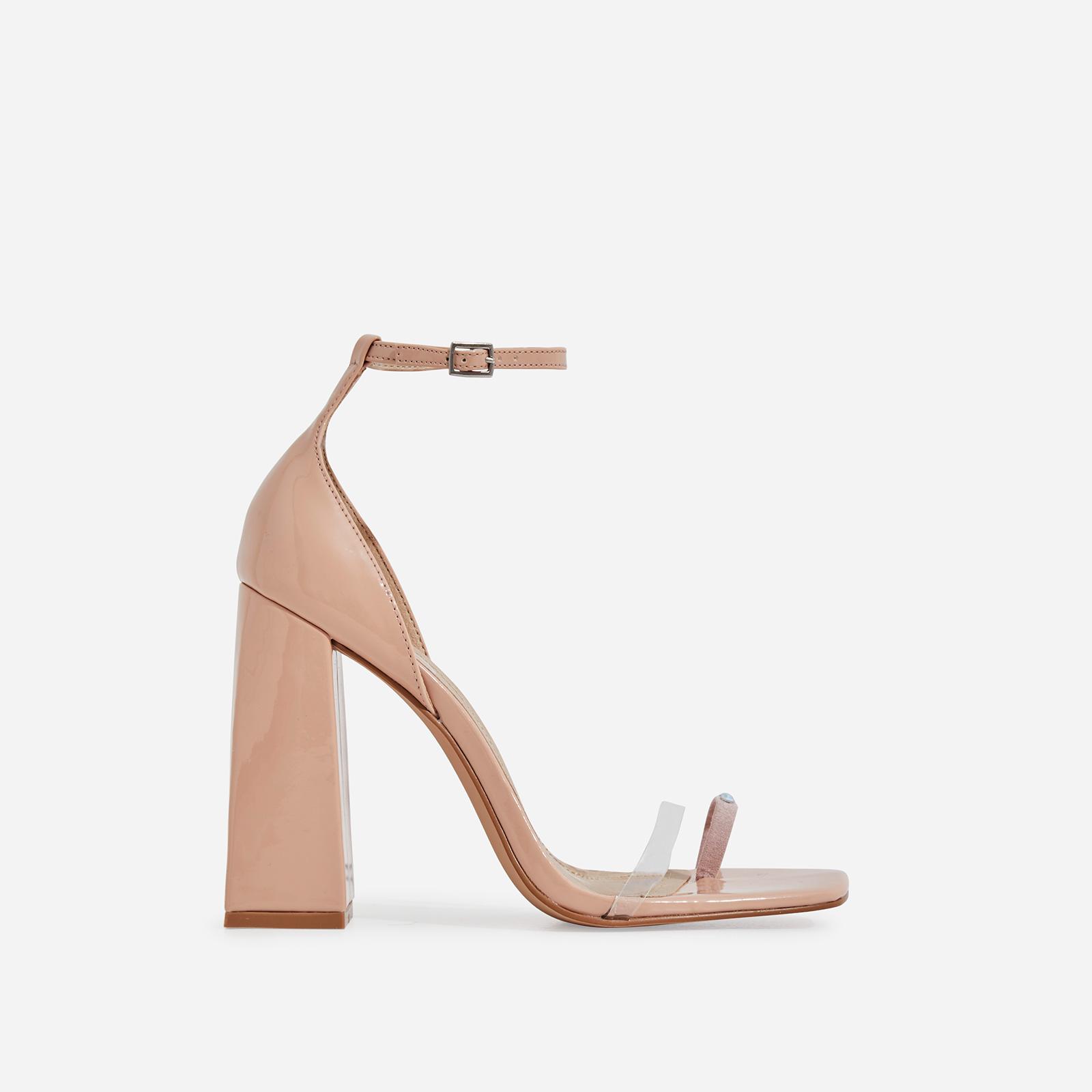 Perch Diamante Detail Strap Square Toe Perspex Flared Block Heel In Nude Patent