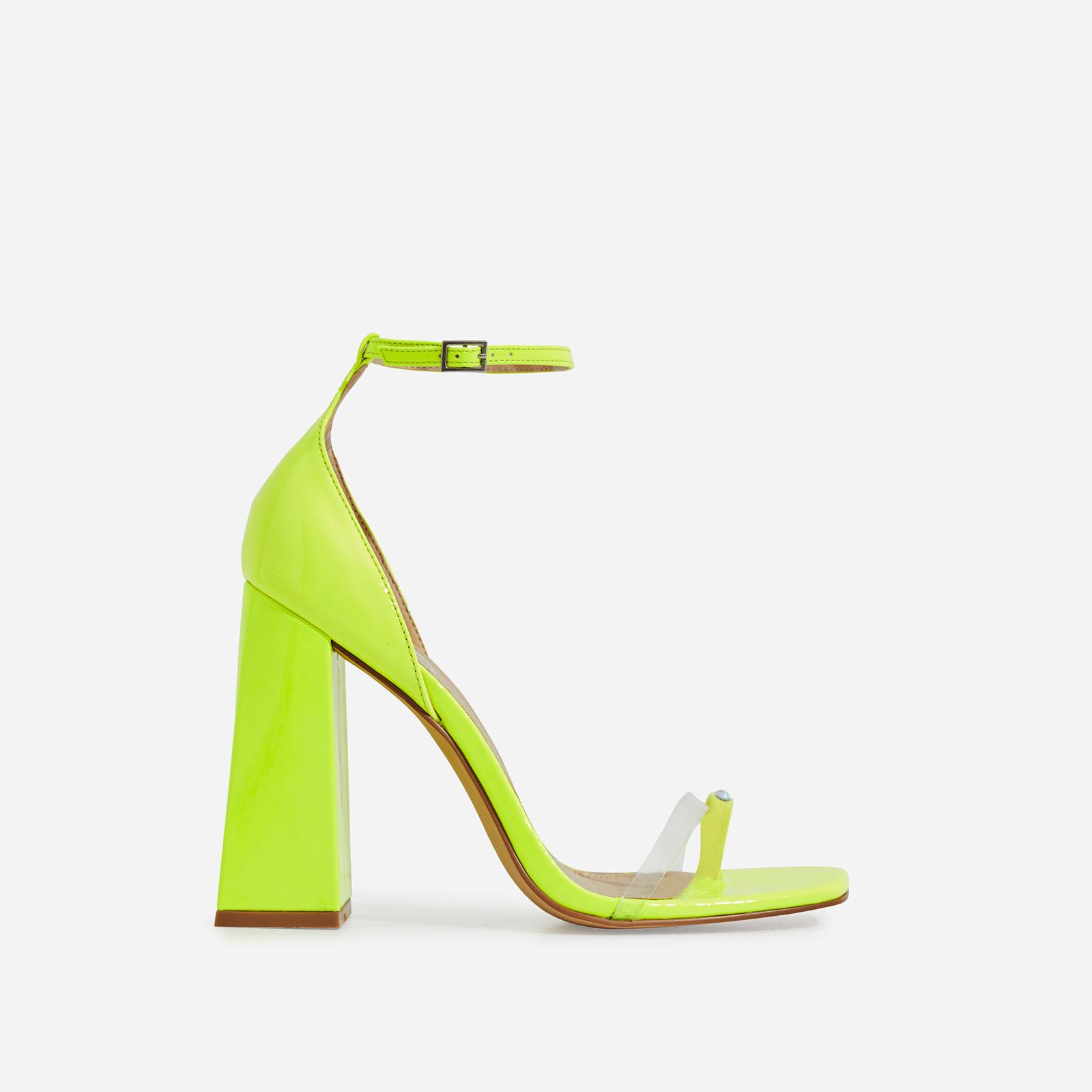 Perch Diamante Detail Strap Square Toe Perspex Flared Block Heel In Neon Yellow Patent