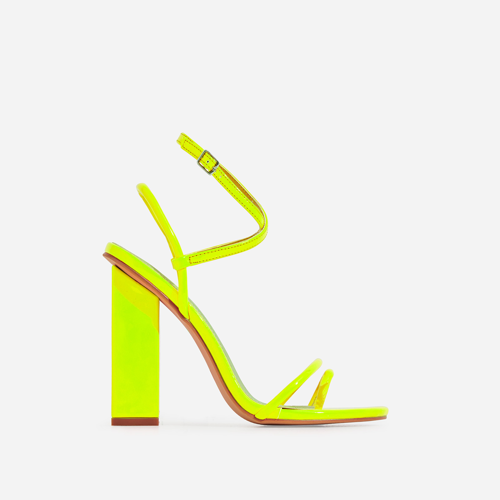 Bello-Bee Toe Strap Block Heel In Neon Yellow Patent