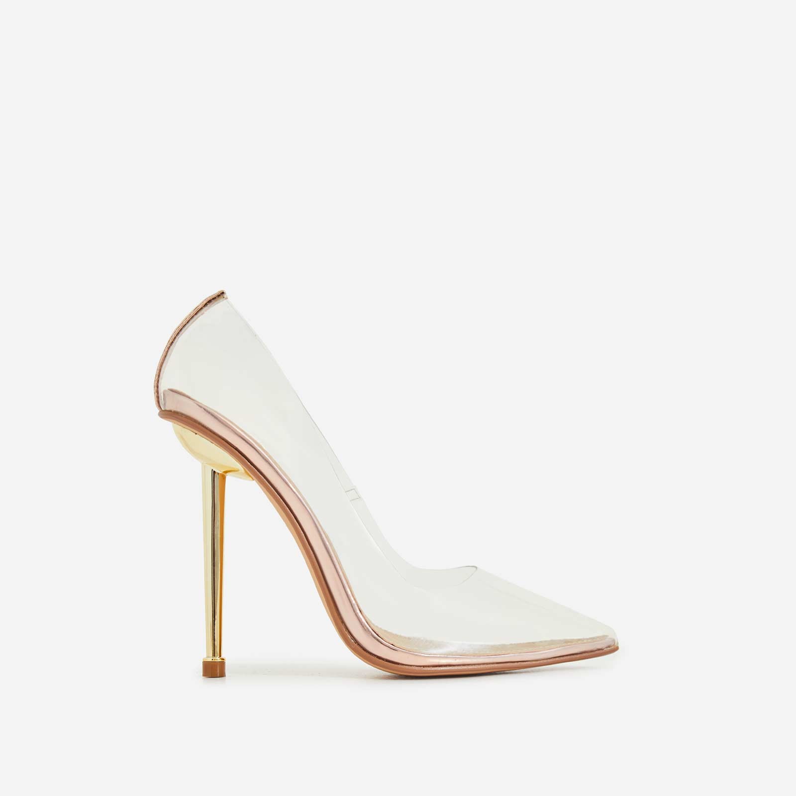 Action Perspex Court Heel In Rose Gold Faux Leather