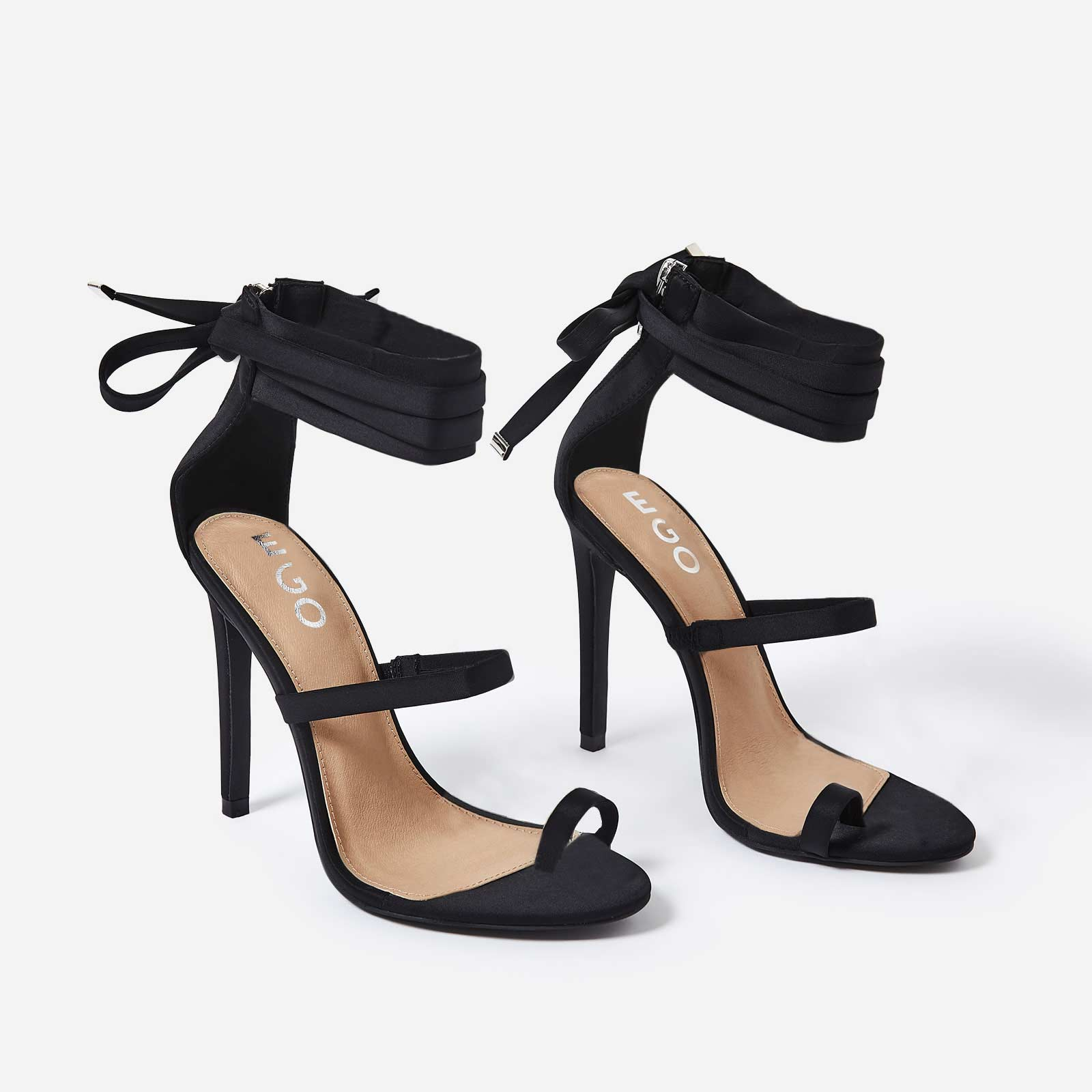 Sandie Lace Up Toe Strap Heel In Black Lycra