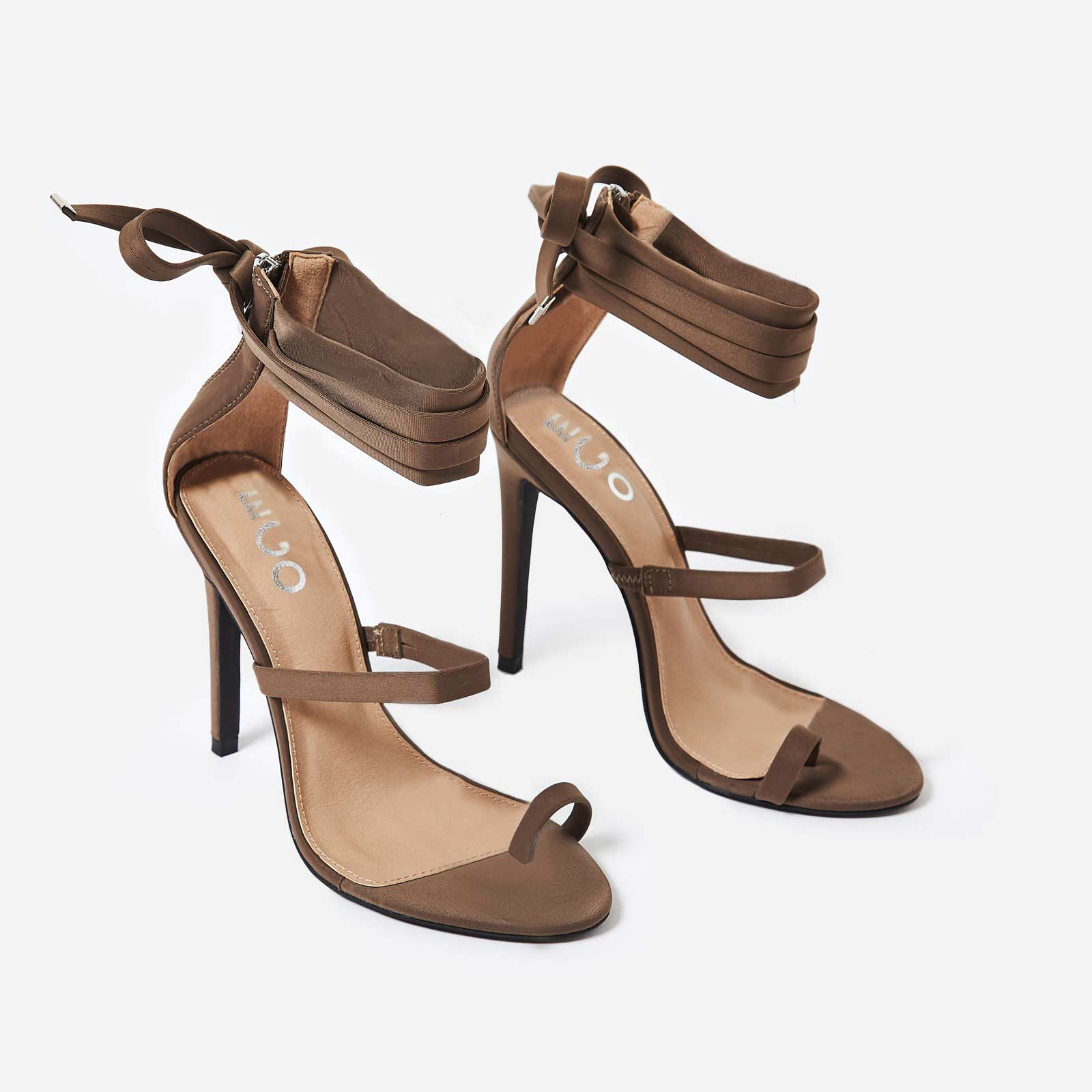Sandie Lace Up Toe Strap Heel In Khaki Lycra