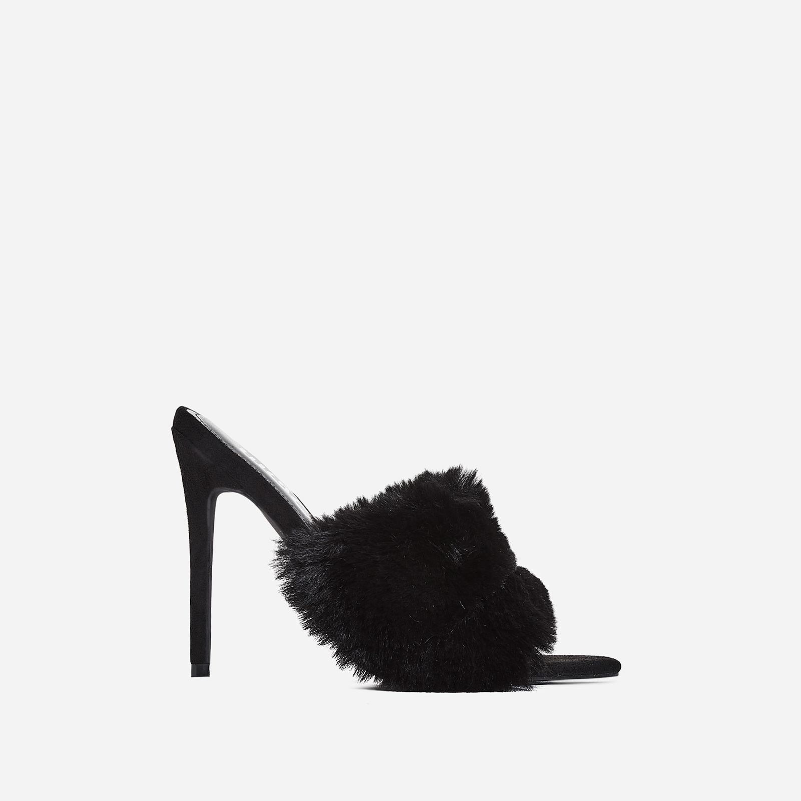 Savage Faux Fur Heel Mule In Black Faux Suede