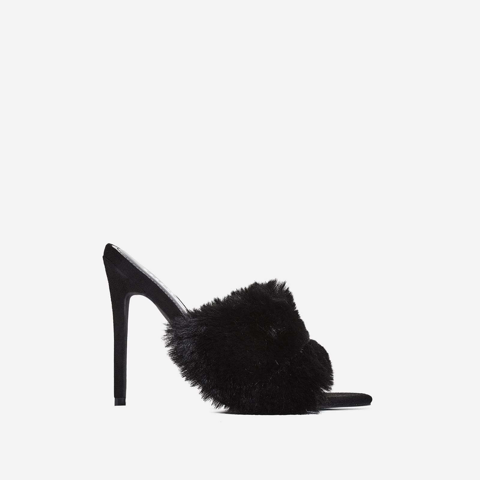 Savage Faux Fur Heel Mule In Black Faux Suede