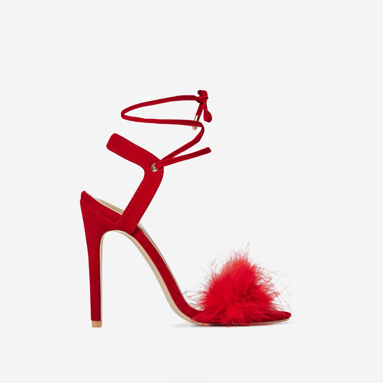 Savanna Lace Up Fluffy Heel In Red Faux Suede