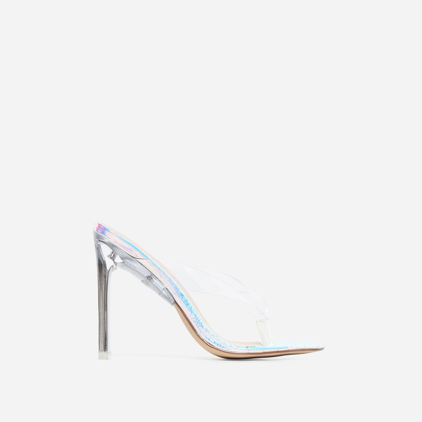 Scandal Flip Flop Flat Perspex Heel In Silver Snake Print Faux Leather