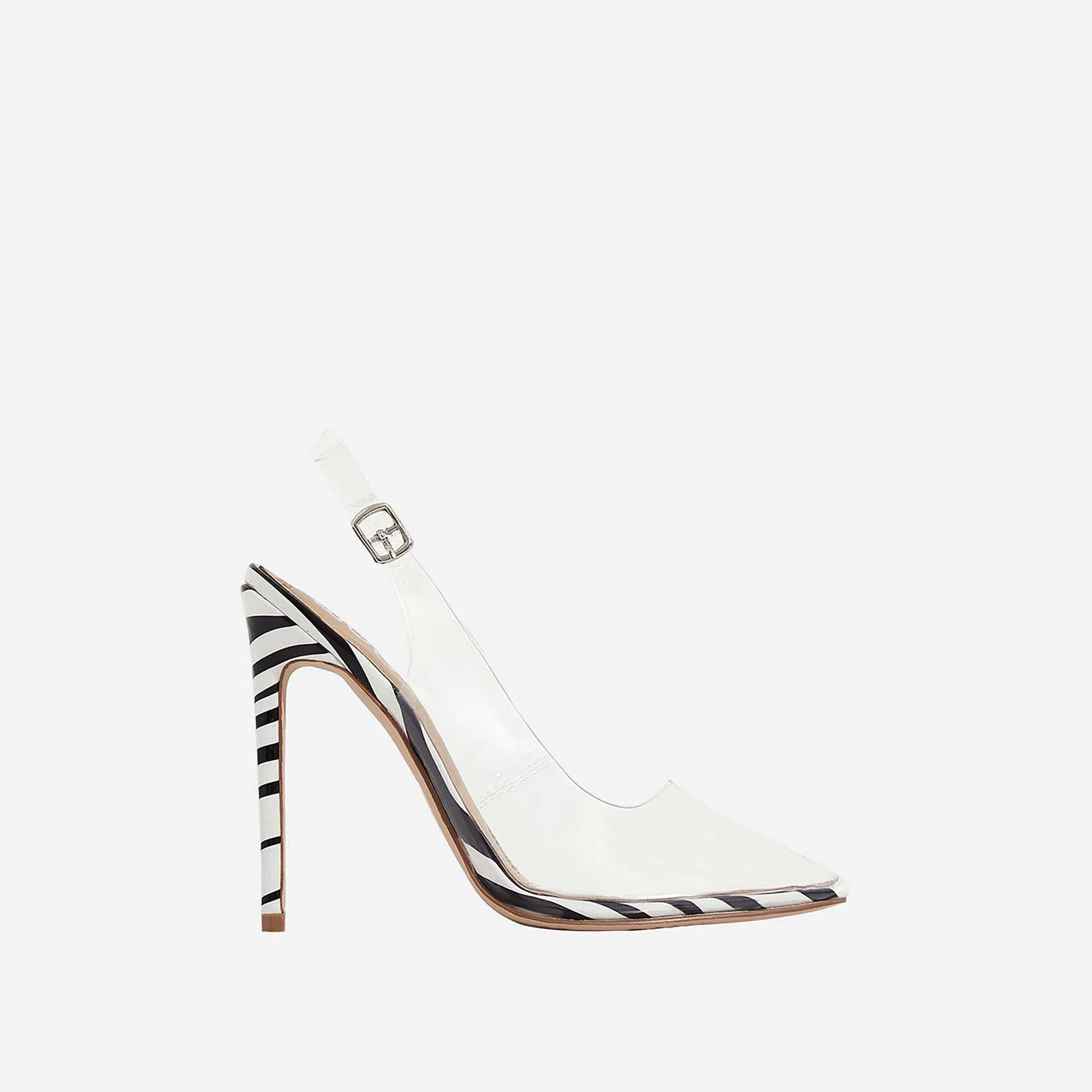 Seamless Perspex Heel In Zebra Print Patent